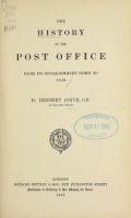 "Cover of ""The history of the post office from its establishment down to 1836"""