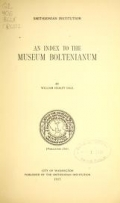 "Cover of ""An index to the Museum Boltenianum"""