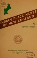 Cover of Indian place names of New England