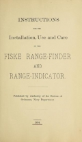Cover of Instructions for the installation, use and care of the Fiske range-finder and range-indicator