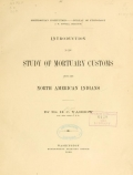 Cover of Introduction to the study of mortuary customs among the North American Indians