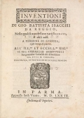 """Cover of """"Inuentioni di Gio. Battista Isacchi da Reggio"""""""