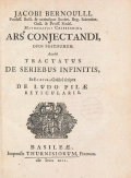 Cover of Jacobi Bernoulli profess. basil. and utriusque societ.- Ars conjectandi, opus posthumum