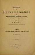 """Cover of """"Katalog der Gewebesammlung des Germanischen Nationalmuseum"""""""