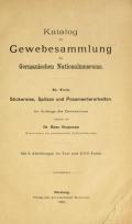 Cover of Katalog der Gewebesammlung des Germanischen Nationalmuseum