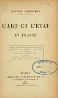 Cover of L'art et l'état en France