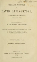"Cover of ""The last journals of David Livingstone in Central Africa, from 1865 to his death"""