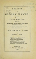 """Cover of """"Lexicon of ladies names"""""""
