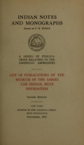 Cover of List of publications of the Museum of the American Indian
