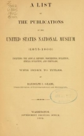 """Cover of """"A list of the publications of the United States National museum (1875-1900)"""""""