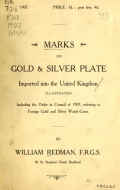 Cover of Marks on gold & silver plate imported into the United Kingdom