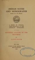 Cover of Material culture of the Menomini