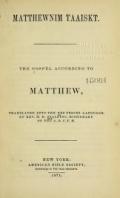 Cover of Matthewnim taaiskt -