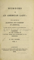 Cover of Memoirs of an American lady v.1 (1808)