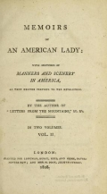Cover of Memoirs of an American lady v.2 (1808)