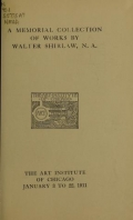 Cover of A memorial collection of works by Walter Shirlaw, N. A