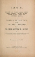 Cover of Memorial of Elizabeth Cady Stanton, Isabella Beecher Hooker, Elizabeth L. Bladen, Olympia Brown, Susan B. Anthony, and Josephine L.