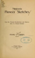 Cover of Minnesota pioneer sketches