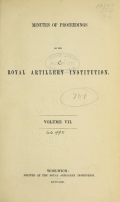 Cover of Minutes of proceedings of the Royal Artillery Institution