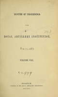 Cover of Minutes of proceedings of the Royal Artillery Institution v.8 (1872-1874)