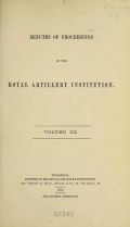 Cover of Minutes of proceedings of the Royal Artillery Institution v.20 (1893)