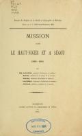 Cover of Mission dans le Haut-Niger et a Ségou, 1880-1881