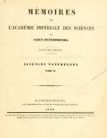 Cover of Mémoires de l'Académie impériale des sciences de St.-Pétersbourg