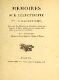 """Cover of """"Mémoires sur l'électricité et la magnétisme /"""""""