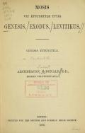 Cover of Mosis vit ettunettle ttyig Genesis, Exodus, Levitikus