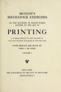 Cover of Moxon's Mechanick exercises, The doctrine of handy-works applied to the art of printing