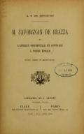 Cover of M. Savorgnan de Brazza et l'Afrique occidentale et centrale a notre époque