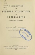 "Cover of ""A narrative of further excavations at Zimbabye (Mashonaland)"""