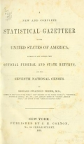 Cover of A new and complete statistical gazetteer of the United States of America