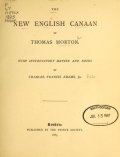 Cover of The new English Canaan of Thomas Morton