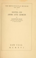 Cover of Notes on arms and armor