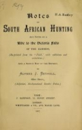 "Cover of ""Notes on South African hunting"""