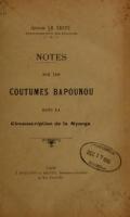 Cover of Notes sur les coutumes bapounou dans la circonscription de la Nyanga