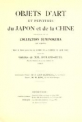 Cover of Objects d'art et peintures du Japon et de la Chine provenant de la collection Suminokura de kioto