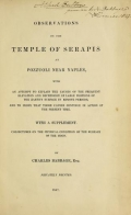 Cover of Observations on the temple of Serapis at Pozzuoli near Naples