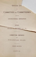 "Cover of ""Official list of committees and committeemen for the International Exposition of 1892"""