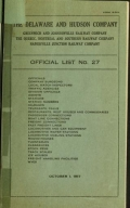 Cover of Official list no. 27
