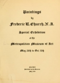 Cover of Paintings by Frederic E. Church, N.A