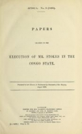 "Cover of ""Papers relating to the execution of Mr. Stokes in the Congo State"""