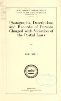 Cover of Photographs, descriptions and records of persons charged with violation of the postal laws