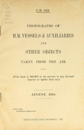 """Cover of """"Photographs of H.M. vessels & auxiliaries and other objects taken from the air /"""""""