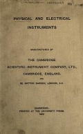 Cover of Physical and electrical instruments, manufactured by the Cambridge Scientific Instrument Co., Ltd., Cambridge, England.
