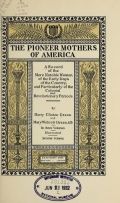 Cover of The pioneer mothers of America
