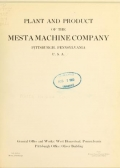 Cover of Plant and product of the Mesta Machine Company, Pittsburgh, Pennsylvania, U.S.A