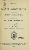 Cover of Portions of the book of common prayer together with hymns, addresses, etc., for the use of the Eskimo of Hudson's Bay