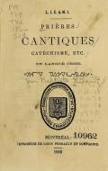 Cover of Prières cantiques catéchisme, etc. en langue crise